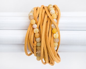 Sunshine yellow agate bracelet Suede wrap bracelet Yellow jewelry gift  Multi strand bracelet Gemstone stacking bracelet