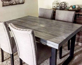Custom Order DIning Table 60x40 Double Wood Top And Metal Legs