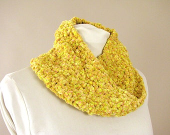 Handmade Yellow and Pink Chunky Chenille Infinity Cowl - Sunrise Loop Scarf