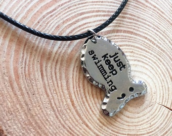 Just Keep Swimming Semi-colon Choker Rope Necklace Faux Leather/Motivational/Inspirational/Mental Health/Positive Jewellery/Gift for Her/Him