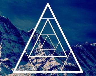 Geometric Triangle Art Print   Modern, Mountain, Explorer, Filter