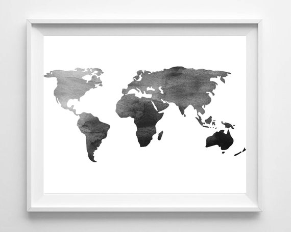 Watercolor world map print printable black white wall art gumiabroncs Gallery