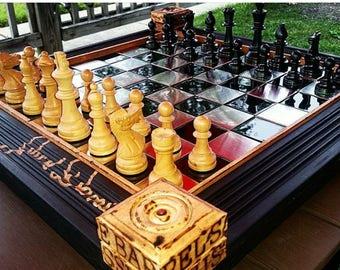 Jack Daniels Single Barrel themed custom chess board
