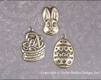 Easter Charms Mixed Lot - 6 Pieces - Rabbits, Easter Baskets and Easter Eggs in Antiqued Polished Brass