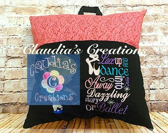 Lace Up and Dance Subway Art Embroidery Saying, Ballet Pocket Pillow Saying, Reading Pillow