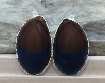 Black Agate Slice, Black Agate Slice Pair, Black Geode Slice Pair, Black Geode Slice, Black Agate Slice, Dyed, Silver Plated, A