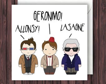 3 Doctors - 10th 11th 12th Doctor Who Birthday Card - Funny Greetings Card - Geek Blank  Card.