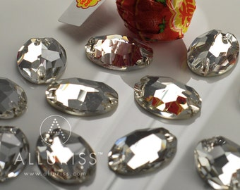 24 x 17mm Oval, 12pcs Clear Crystal, sew on stone embellishment flatback