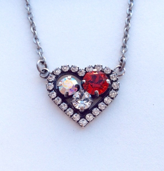 Swarovski Crystal -  Designer Inspired - Heart Pendant Necklace -  Beautiful Radiant Lt. Siam, Aurora Borealis, & Crystal