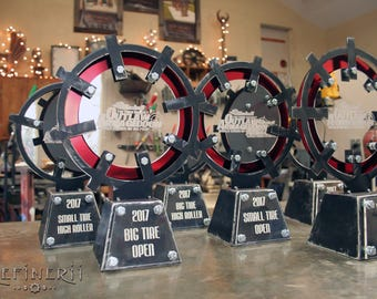 Steel Mad Max Outlaw Race Award Trophies Distressed Metal