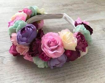 Flower HeadBand \ Floral Headpiece Maternity Photo Prop Flower Crown Bridal Wedding Headband photo shoot session accessorize hairband