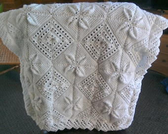 Hand knitted Baby Blanket in White
