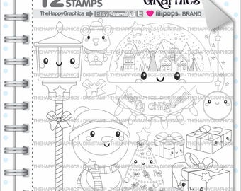 Christmas Stamp, 80%OFF, COMMERCIAL USE, Digi Stamp, Digital Image, Christmas Digistamp, Christmas Coloring Page, Snowman Stamp, Snow Globe