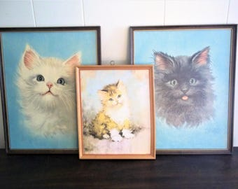 Three Florence Kroger Prints - Cats and Kitten - Framed