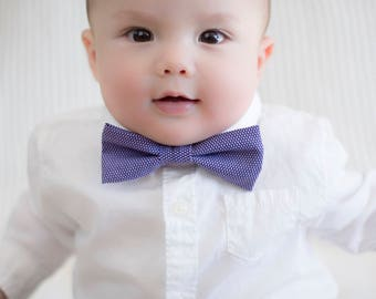 Purple and White Microcheck Patterned Child's Bow Tie