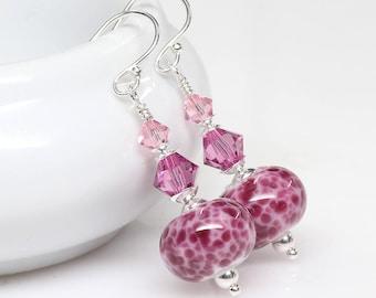 Raspberry Rose Lampwork Glass Earrings, Pink Lampwork Earrings, Artisan, Elegant, Sterling Silver, Dangle Earrings