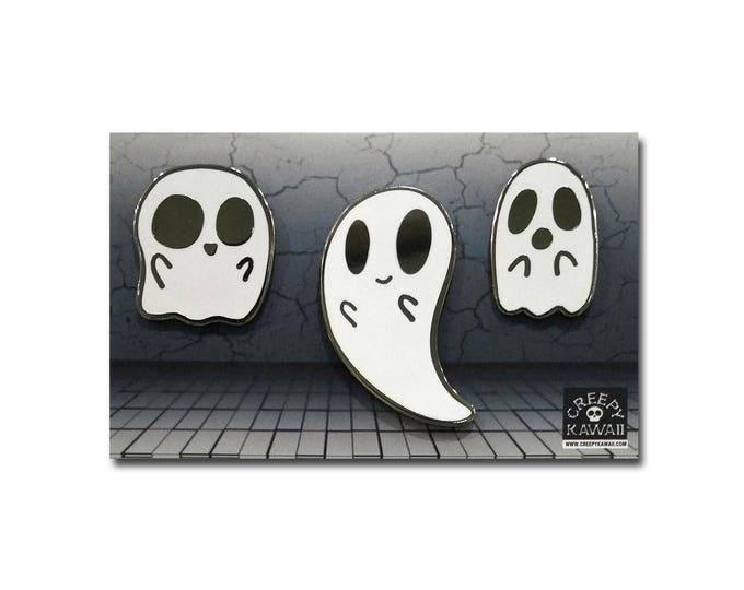 "1"" - 1.5"" Hard Enamel Mini Ghost Pins (Set of 3)"