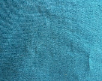 Turquoise blue/green 100% linen. Soft washed quality linen fabric.
