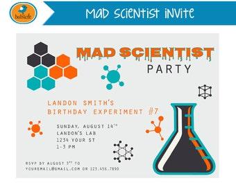 Mad Scientist Invite, Scientist Birthday, Chemistry Party, Experiments, Digital Invitation, Chemistry Invitation, Birthday Party Printable,