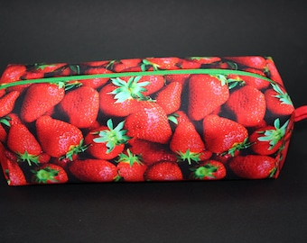 Boxy Makeup Bag- Fresh Picked Strawberry Print- Pencil Pouch - Digital Fabric