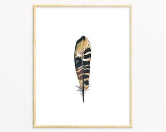Black & White Pheasant Feather Watercolor Art Print. Realistic Feather Wall Art. Nature Decor. Nature Gallery Wall Art Print. Masculine Art.