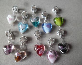 x 10 mixed metal flower motif glass heart pendants silver 26 x 12 mm