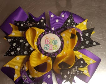 "5"" Sisters Forever Boutique Bow, Purple Hairbow, Yellow Hairbow, Black Hairbow"