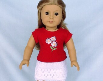 Daisy T-Shirt and Eyelet Skirt for American Girl/18 Inch Doll