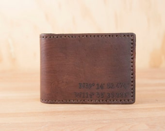 ID Bifold Wallet - Personalized Bifold Wallet with Custom Coordinates - Find Me Here pattern in Mahogany - Third Anniversary Gift