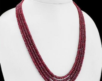 Ruby Necklace ~ Top Class 250.00 cts. Natural 4 Strand Faceted Red Ruby Necklace ~