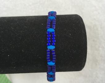 Dark and Light Blue Beaded Bracelet