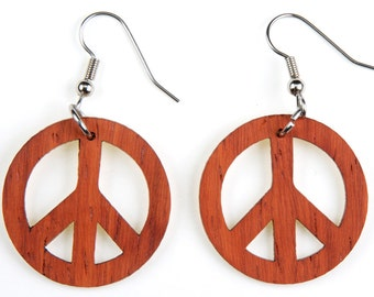 Peace Symbol, Laser Cut, Wood Earrings