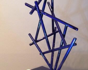 Blue Bamboo - a zen steel sculpture