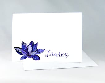 Lotus Note Cards, Personalized Note Cards, Lotus Thank You Cards, Yoga Notecards, Hand Drawn Stationery, Inspirational Note Cards, 14001025A