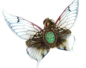 Steampunk hair clip dragon fairy green