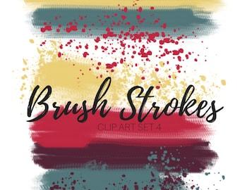 Brush stroke clip art - ink splatter clip art - Paint brush clip art - commercial use
