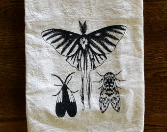 Orange-patched Smoky Moth, Luna Moth and Leopard Moth Screen Printed Tea Towel, Four Sack Towel, Dish Towel