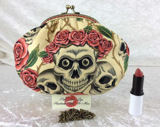 Handmade handbag purse clutch kiss clasp Alice frame bag Alexander Henry Rose Tattoo Gothic Skulls