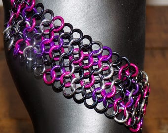 Wide Rockstar European Weave Chainmaille Bracelet