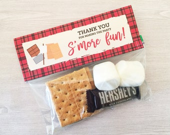 S'mores Favors, S'mores Treat Bag Topper, Printable Favors, S'mores Kit, S'mores Party Favor Plaid