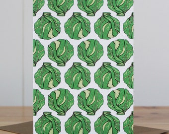 Brussel Sprout Christmas Card - greeting card - Christmas cards - funny Christmas card - holiday card - vegetable Christmas card - sprout