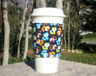 FREE SHIPPING UPGRADE with minimum -  Fabric coffee cozy / cup sleeve / coffee sleeve / drink cozy - Colorful Foxes