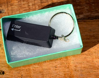 """Geeky """"Enter"""" keychain, keyboard key, Geeky housewarming, there's no place like home! Upcycled, green gift, *Ready to ship!*"""