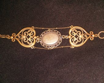 Antique Bronze cameo cabachon victorian meets steampunk meets goth
