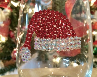 Santa Hat Crystallized Wine Glass