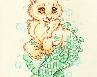 """Mermay#2 """"The Mighty Merlion Cub"""" - Original Merlion Drawing on Moleskine ORIGINAL OOAK Art"""
