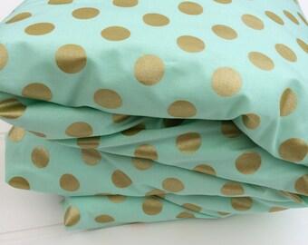 Cot quilt / doona / duvet cover in Aqua and Gold Dots