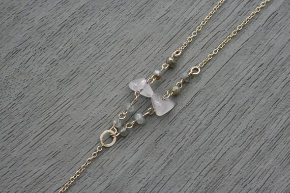 Rose Quartz, Labradorite and Gold Y-Necklace // Gifts for Her // Bride // Bridal // Wedding // Stocking Stuffer