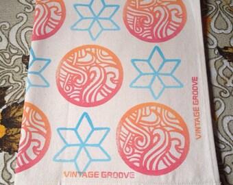 Hand Printed Tea Towel Ocean Flower dish Towel