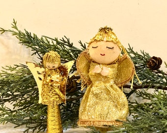 Vintage 1960s Angel Ornaments, Mid Century Mod, Gold Metallic Angels, Lot of Angels, Gold Metallic Hair, Spun Cotton Head, Made in Taiwan